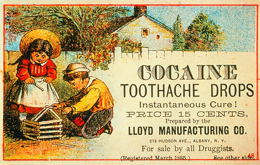 ad for Lloyd Manufacturing's Cocaine Toothache Drops