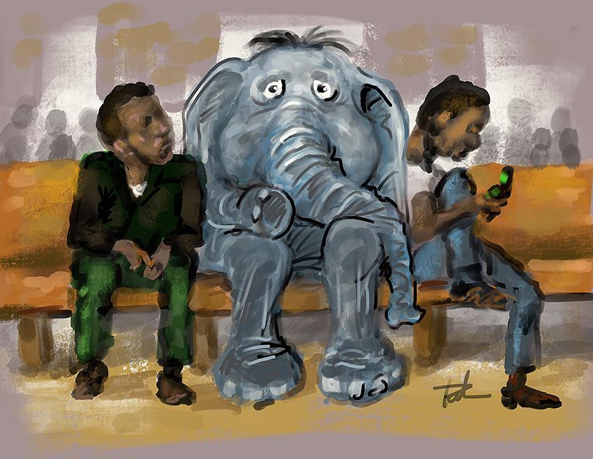 elephant and pastors art work
