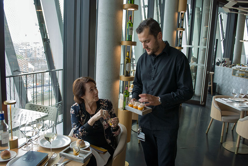 Executive Chef Djorde Ercevic of Le 7 Restaurant Panoranique offering a tasty appetizer