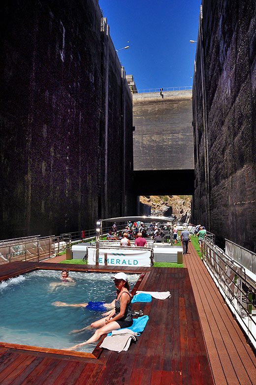 going through one of the locks on the five dams of the Portugal's Douro River