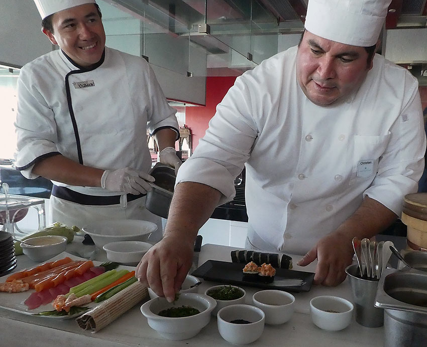 Iberostar chefs demonstrate ceviche and sushi preparation
