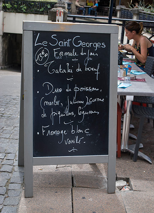 chalk board menu at Le Saint Georges