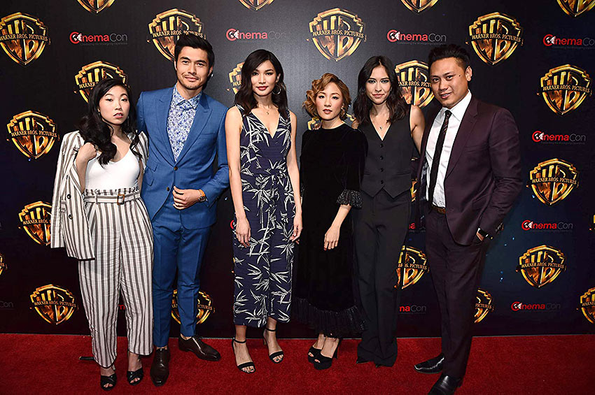 Jon M. Chu, Constance Wu, Gemma Chan, Sonoya Mizuno, Awkwafina, and Henry Golding at an event for Crazy Rich Asians