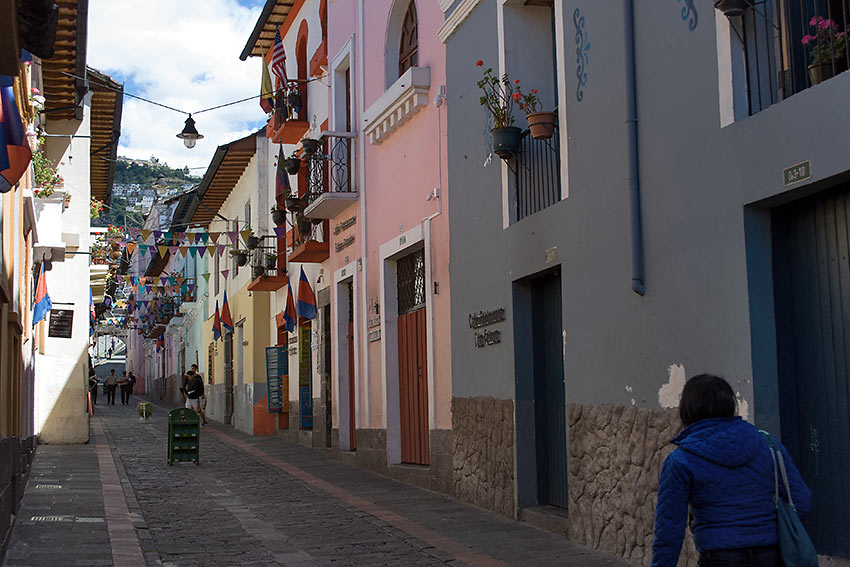 the colorful alleyway of La Ronda in Quito