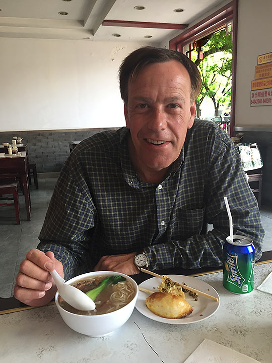 James Boitano with a simple bowl of soup for breakfast in Beijing