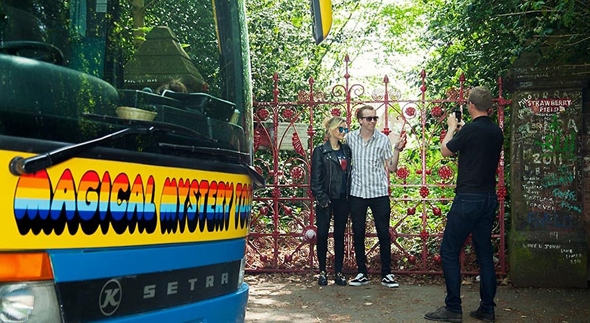 Magical Mystery Tour visitors at the Strawberry Field