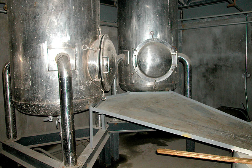 twin tanks initially used for processing liquid goat