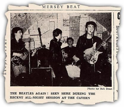 newspaper clipping of the Beatles at the Cavern
