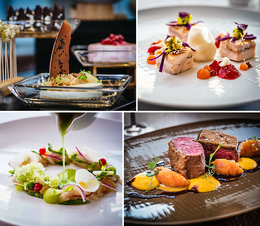 assorted dishes at the Apples Restaurant and Bar, Park Hyatt Hotel Hamburg