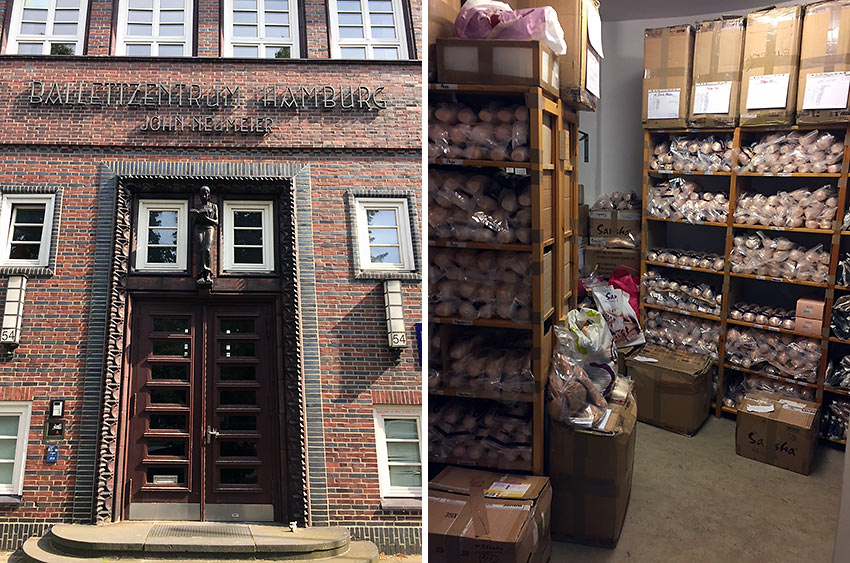 the Ballettzentrum Hamburg and a toe-shoe storeroom at the John Neumeier School