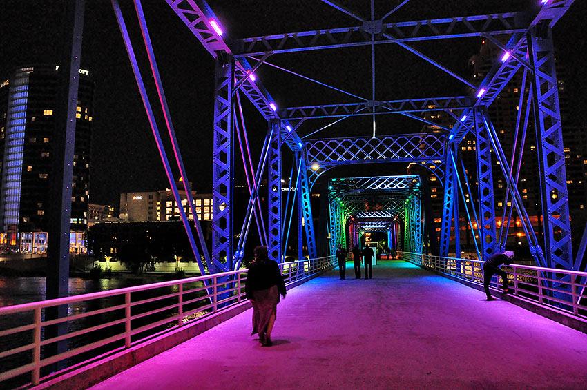 the Blue Bridge over the Grand River, Grand Rapids, at night