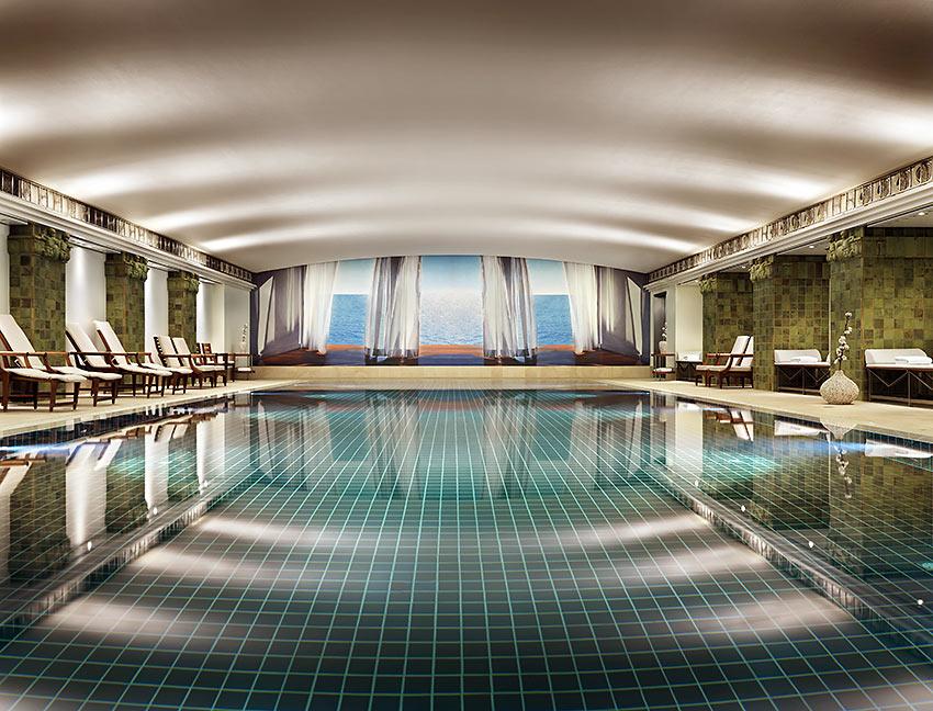 the 65-foot long pool at the Club Olympus spa, Park Hyatt Hotel Hamburg