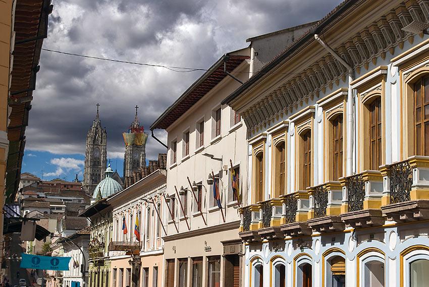 colonial buildings in downtown Quito, Ecuador