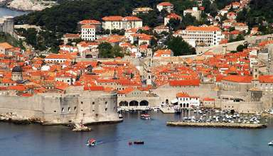 view of the walled city of Dubrovnik