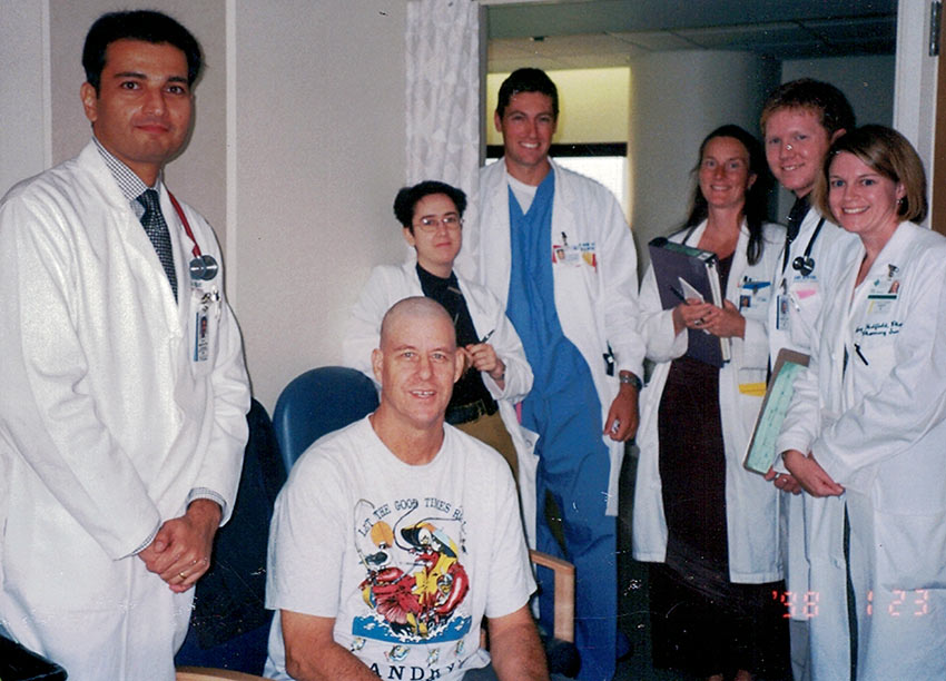 the author and hospital staff during his leukemia treatment