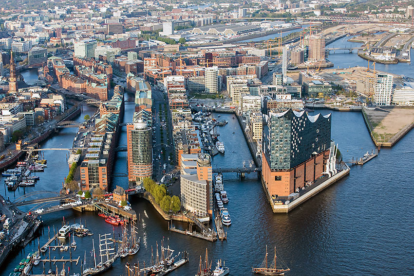 aerial view of the Elbphilharmonie, Hafencity, and the warehouse district, Speicherstadt, Hamburg