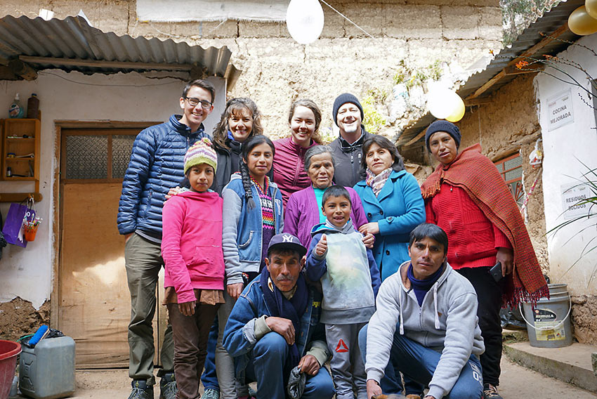 the author's family and host family in Peru