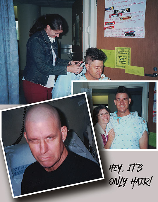the author undergoing a haircut during his leukemia treatment