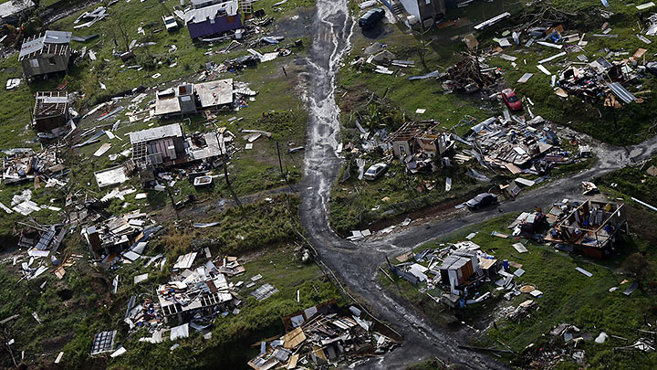 aerial view of the aftermath of hurricane Maria