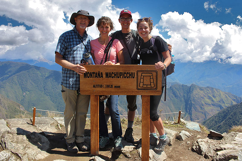 the author and his family at the Montaña Machu Picchu marker