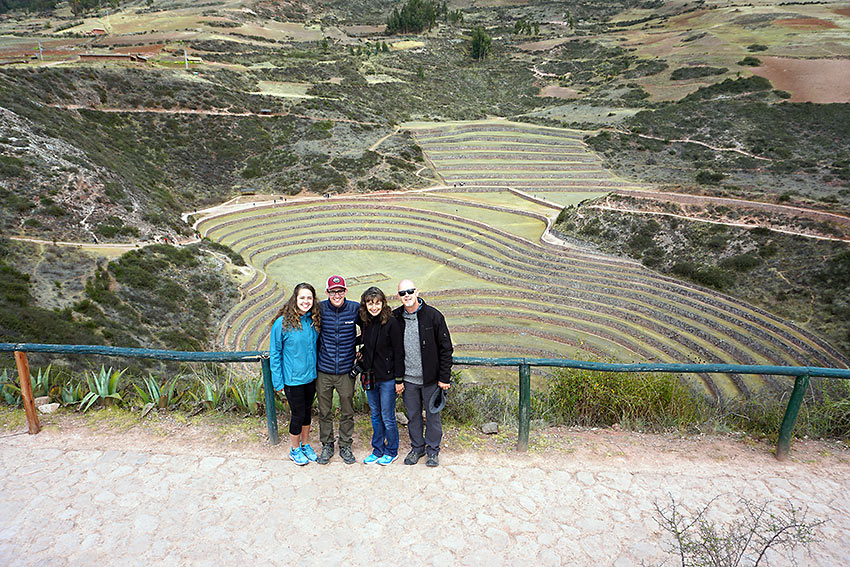 the author's family at the experimental agricultural terraces of Moray