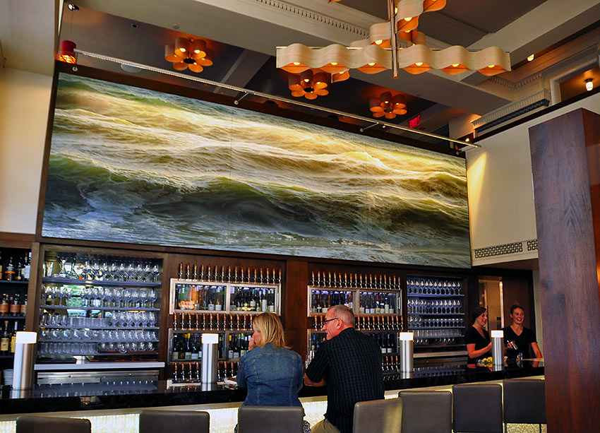 the first ArtPrize winner, 'Open Water No. 24,' at the bar at Reserve Wine & Food in downtown Grand Rapids