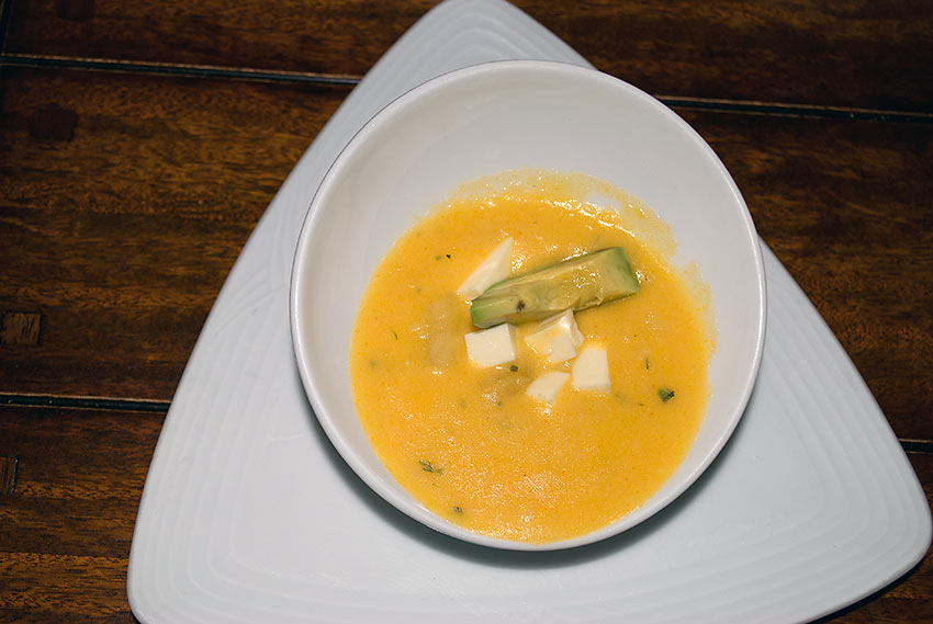 classic Quito potato soup at the Plaza Grande Hotel