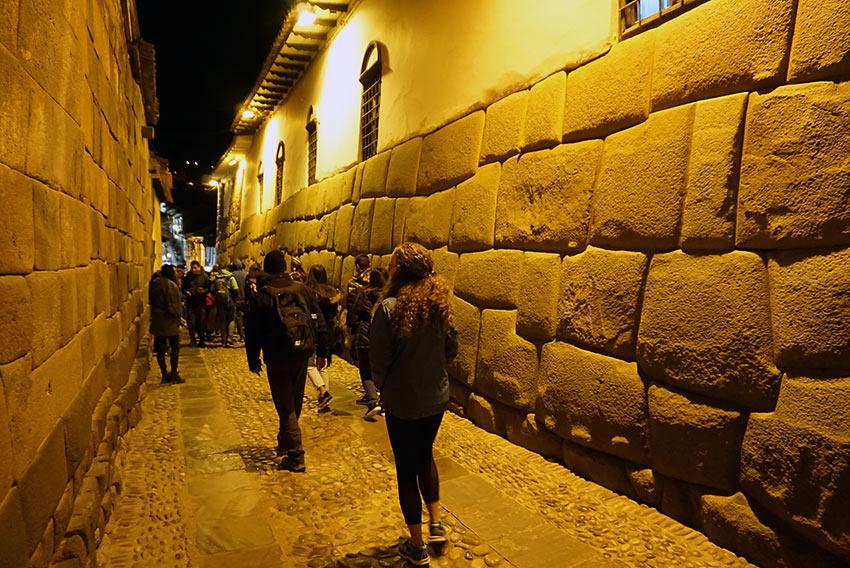 the Inca road going to San Blas, Cusco, at night