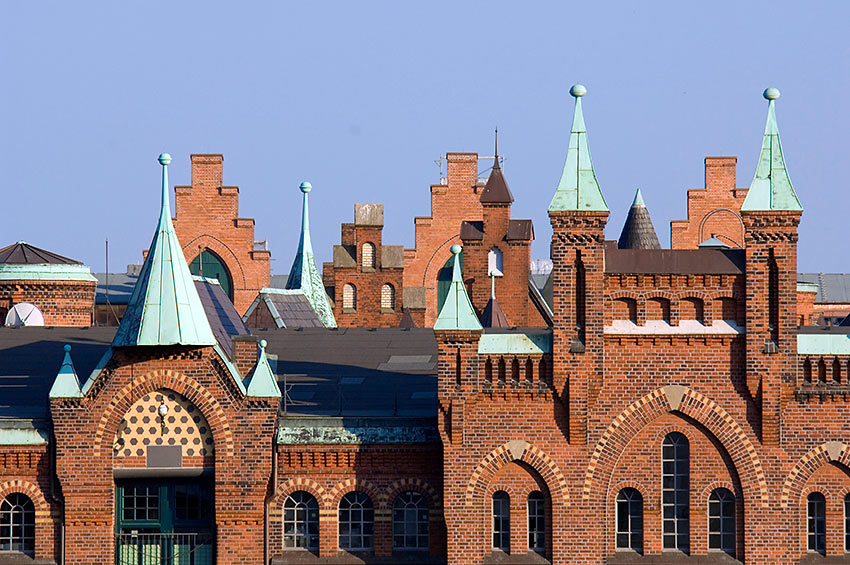 rooftops of historic warehouses in the Speicherstadt district, Hamburg