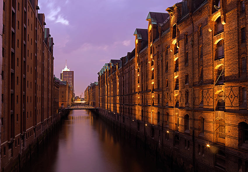 historic Speicherstadt warehouse buildings in the harbor, HafenCity