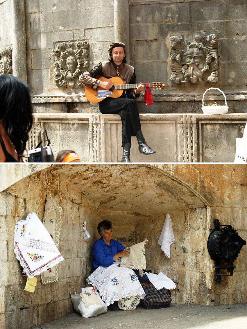 Street performer and artisan at Dubrovnik's Old Town