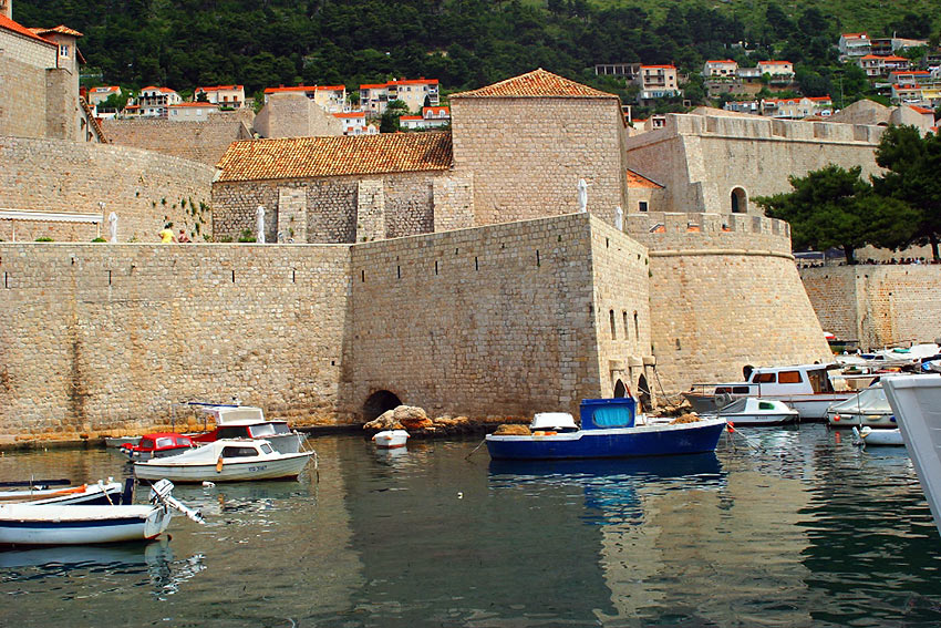 boats on the waters outside the walled city of Dubrovnik