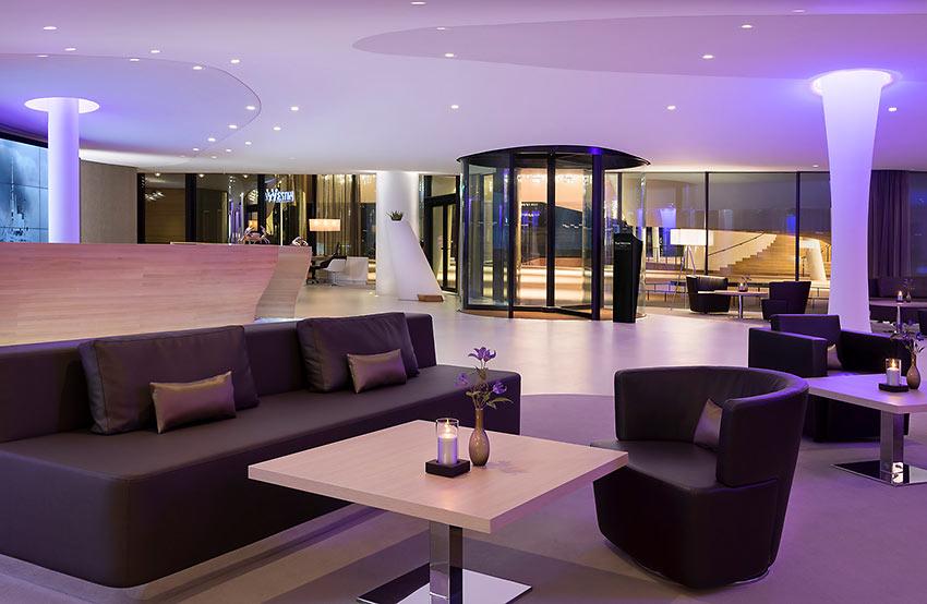 the lobby of the Westin Hotel, Hamburg
