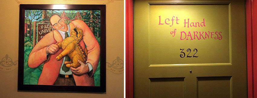 bizarre picture adorns a wall and a door inscription, McMenamins Grand Lodge