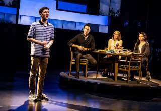 Ben Levi Ross as Evan Hansen, Aaron Lazar as Larry Murphy, Christiane Noll as Cynthia Murphy, and Maggie McKenna as their daughter Zoe