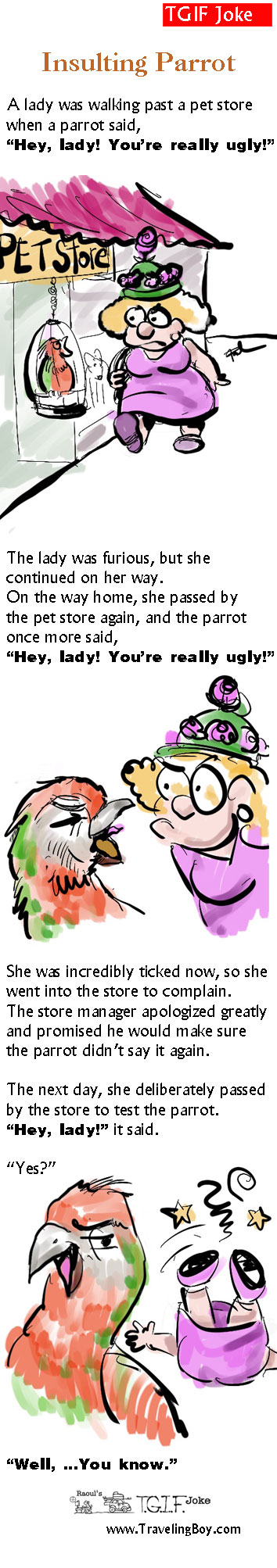 Insulting Parrot cartoon