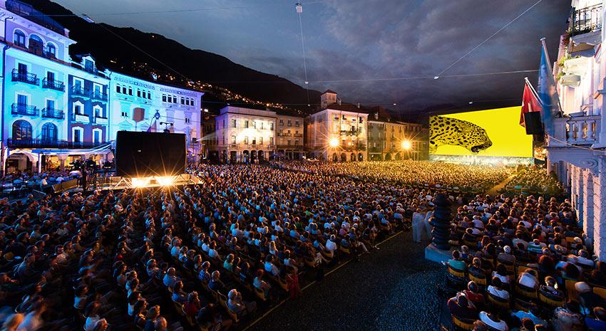 outdoor screens at Piazza Grande, Locarno, Switzerland