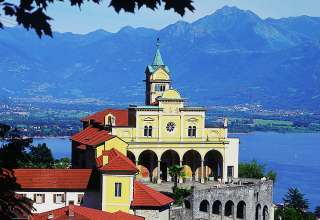 the Santuario della Madonna del Sasso on a hill overlooking Locarno