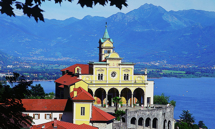the Santuario della Madonna del Sasso on a hill overlooking Locarno