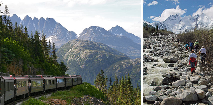 the White Pass & Yukon Route railway and trekkers on the Dead Horse Trail