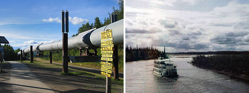 Trans Alaska Pipeline and Riverboat Discovery Sternwheeler on Tanana River