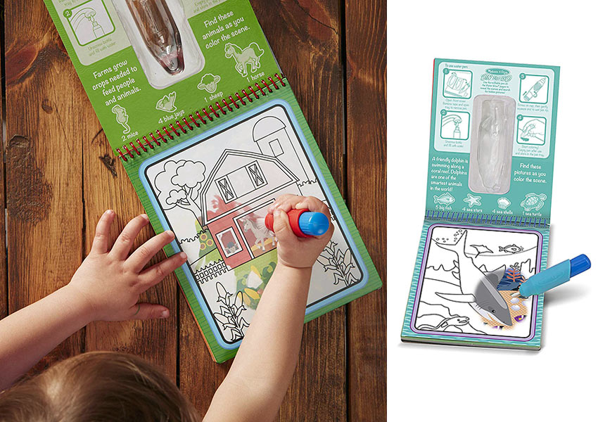 the Melissa & Doug Water Wow! Reusable Color With Water Pad 3-Pack - Farm, Safari, Under the Sea
