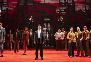 "the entire cast of the National Touring Production of ""A Bronx Tale"" on stage at the Pantages Theatre"