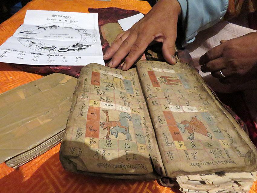 paraphernalia of a Bhutan astrologer