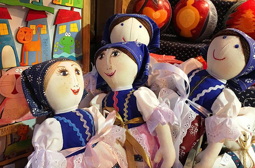 cloth dolls at a market stall in Bratislava, Slovakia