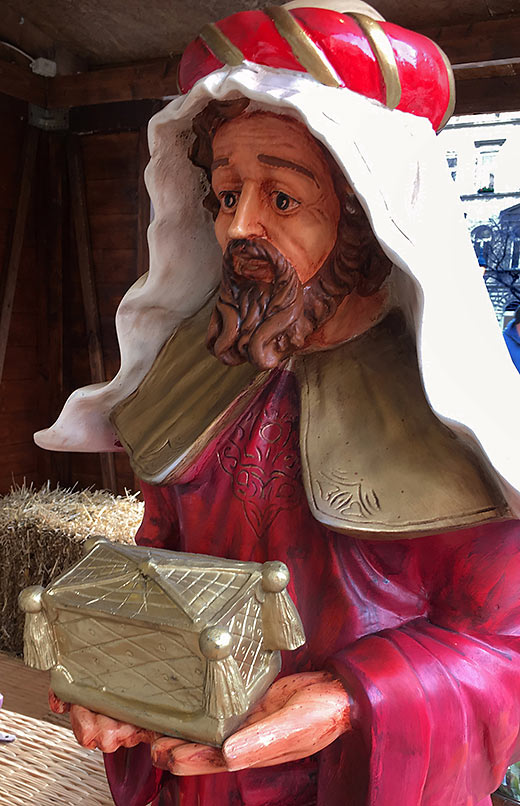 one of three wise men in a Nativity scene outside St. Stephen's Basilica, Budapest, Hungary