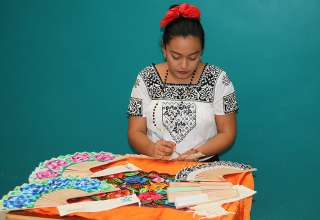 woman working on handicrafts at Campeche