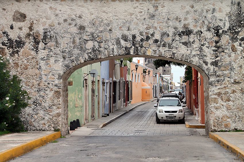 street scene at the Spanish colonial city of Campeche
