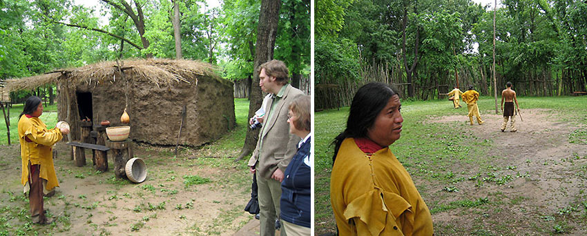 Cherokee docents in period costume demonstrate what life was once like at the historic Cherokee Village