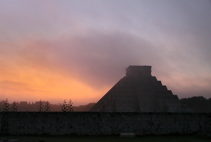 dawn at the ruins of Chichen Itza